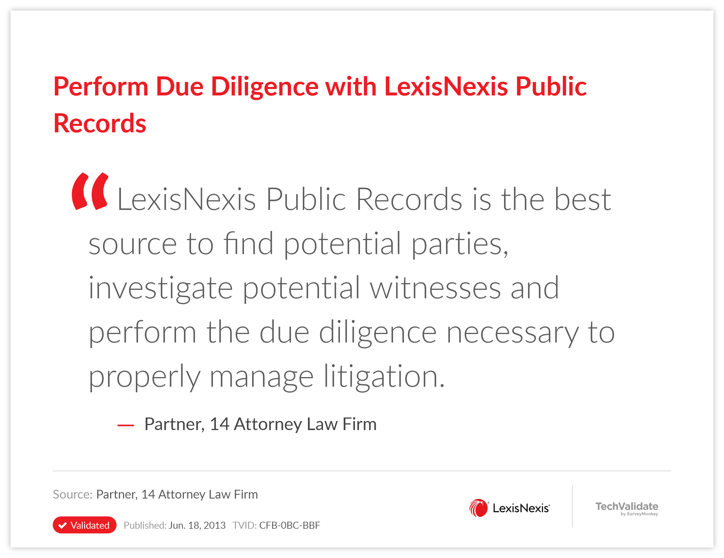 Perform Due Diligence with LexisNexis Public Records