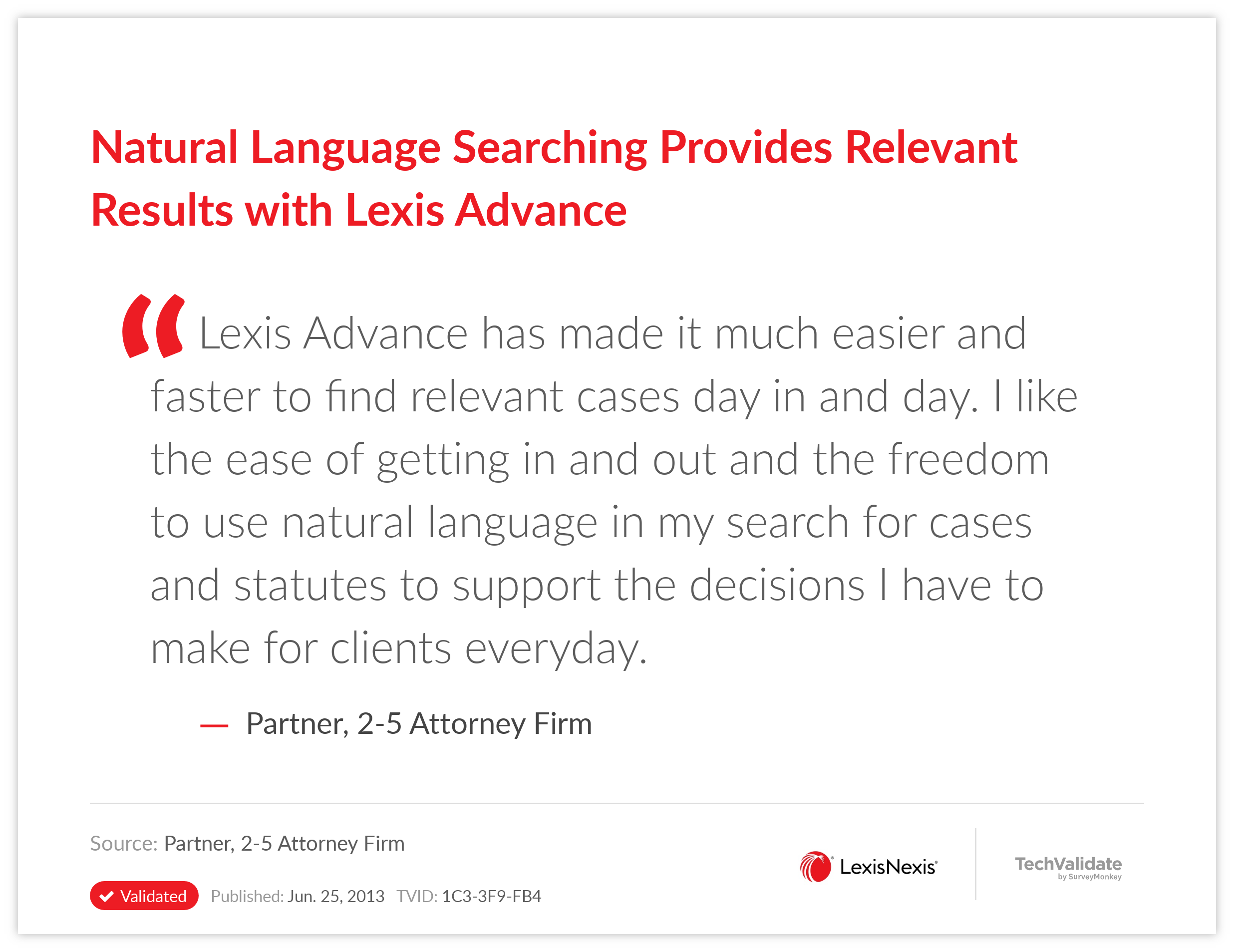 Natural Language Searching Provides Relevant Results with Lexis Advance