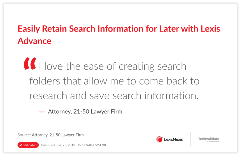 Easily Retain Search Information for Later with Lexis Advance