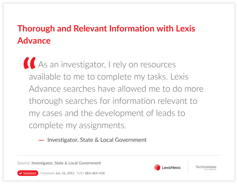 Thorough and Relevant Information with Lexis Advance