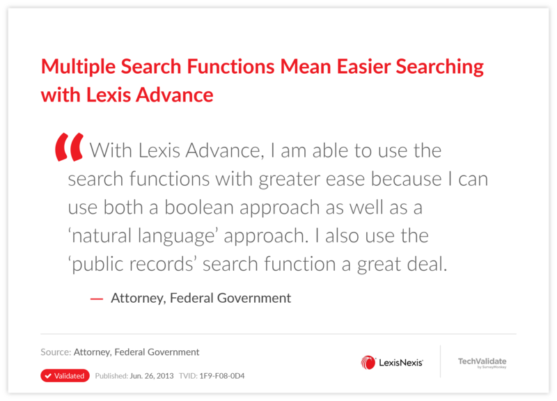 Multiple Search Functions Mean Easier Searching with Lexis Advance