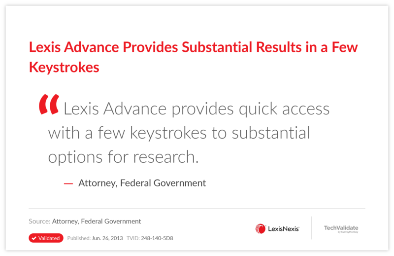 Lexis Advance Provides Substantial Results in a Few Keystrokes