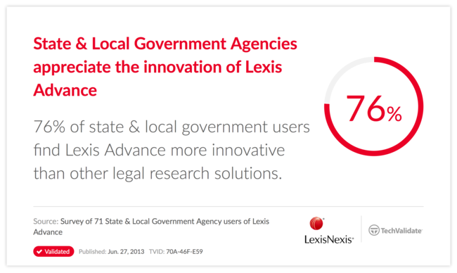 State & Local Government Agencies appreciate the innovation of Lexis Advance