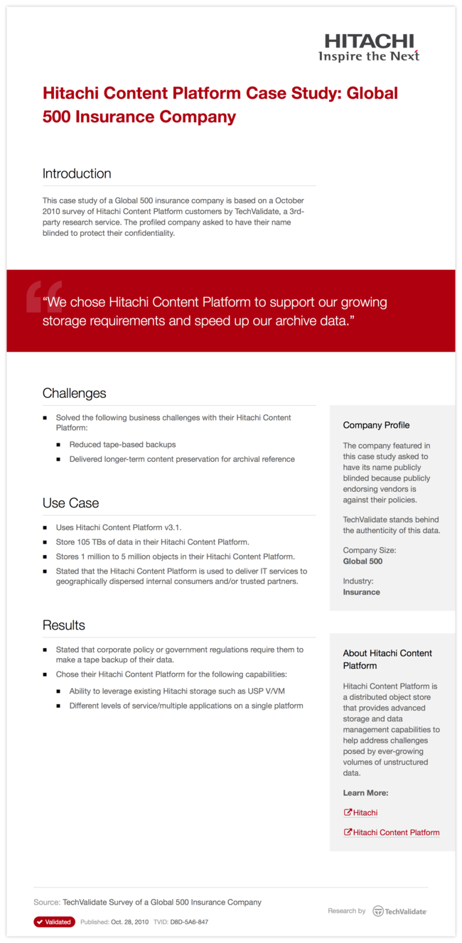 Hitachi Content Platform Case Study: Global 500 Insurance Company