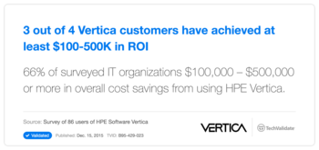 3 out of 4 Vertica customers have achieved at least $100-500K in ROI