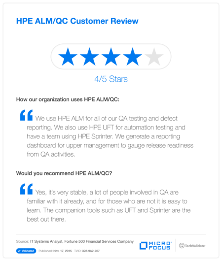 HP ALM/QC Customer Review