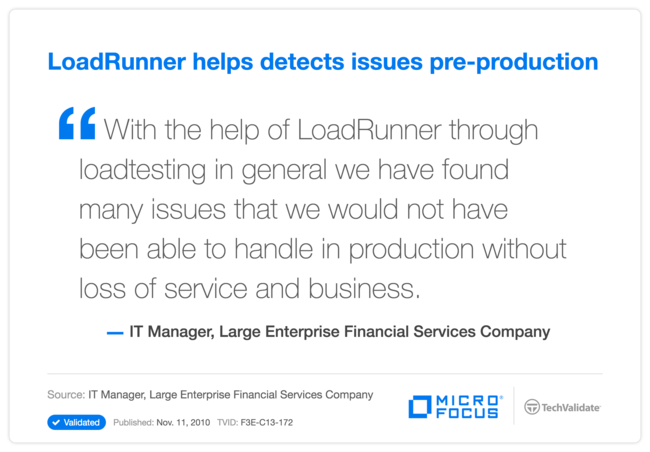 LoadRunner helps detects issues pre-production