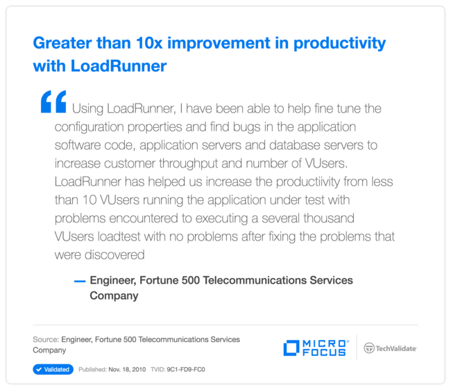 Greater than 10x improvement in productivity with LoadRunner
