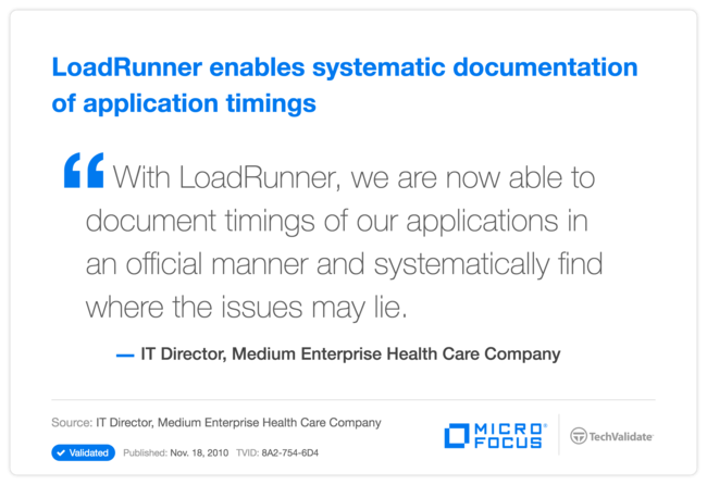 LoadRunner enables systematic documentation of application timings