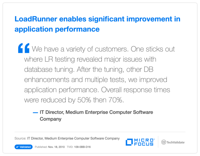 LoadRunner enables significant improvement in application performance