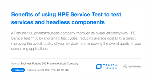 Benefits of using HP Service Test to test services and headless components