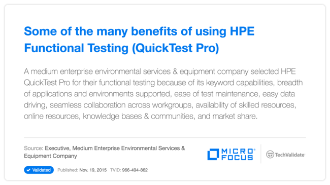 Some of the many benefits of using HP Functional Testing (QuickTest Pro)