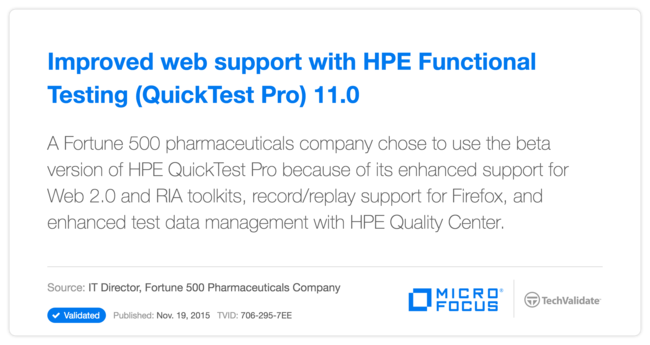 Improved web support with HP Functional Testing (QuickTest Pro) 11.0