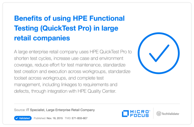 Benefits of using HP Functional Testing (QuickTest Pro) in large retail companies