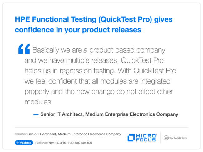 HP Functional Testing (QuickTest Pro) gives confidence in your product releases