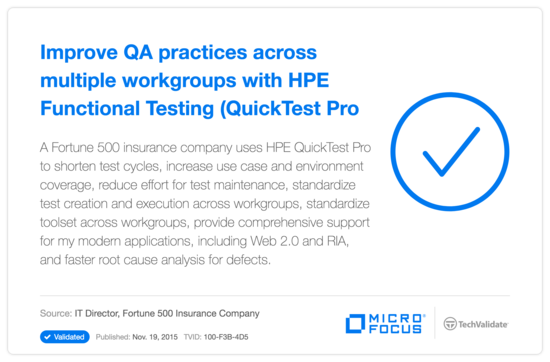Improve QA practices across multiple workgroups with HP Functional Testing (QuickTest Pro)