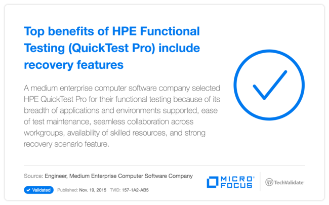Top benefits of HP Functional Testing (QuickTest Pro) include recovery features