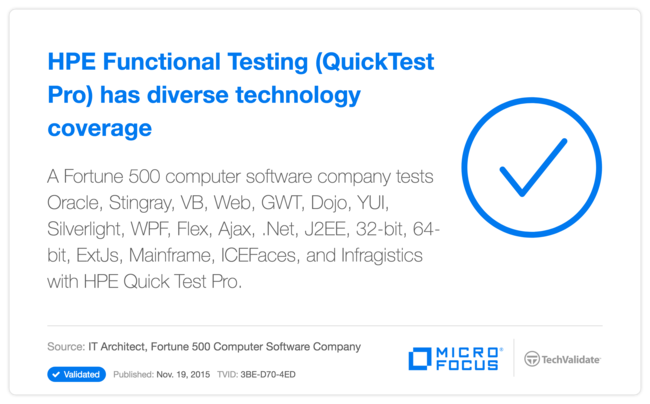HP Functional Testing (QuickTest Pro) has diverse technology coverage