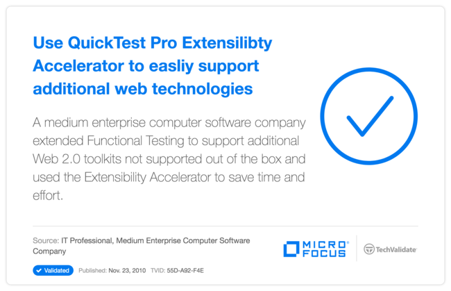 Use QuickTest Pro Extensilibty Accelerator to easliy support additional web technologies