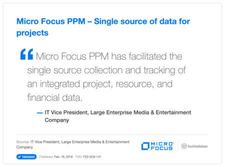 HP PPM - Single source of data for projects