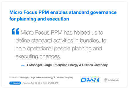 HP PPM enables standard governance for planning and execution