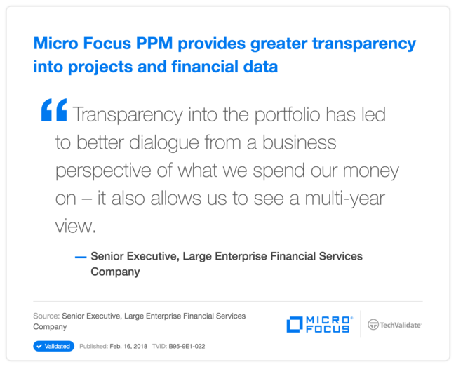 HP PPM provides greater transparency into projects and financial data