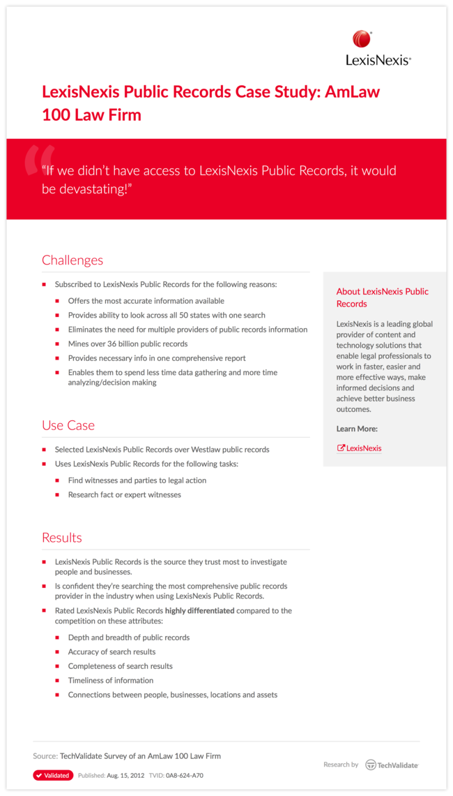LexisNexis Public Records Case Study: AmLaw 100 Law Firm