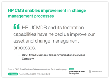 HP CMS enables improvement in change management processes