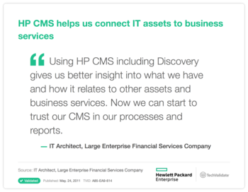 HP CMS helps us connect IT assets to business services