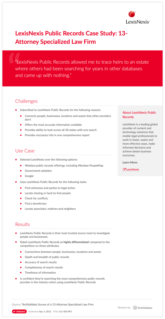 LexisNexis Public Records Case Study: 13-Attorney Specialized Law Firm
