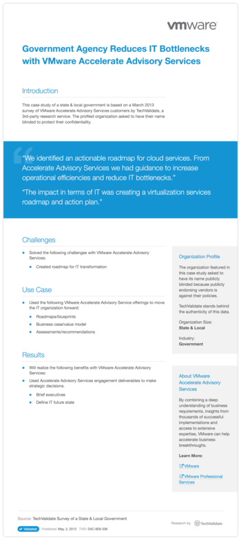 Government Agency Reduces IT Bottlenecks with VMware Accelerate Advisory Services
