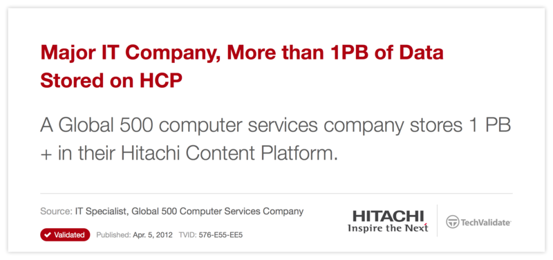 Major IT Company, More than 1PB of Data Stored on HCP