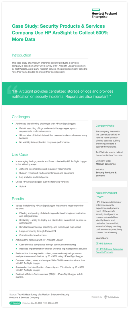 Case Study: Security Products & Services Company Use HP ArcSight to Collect 500% More Data