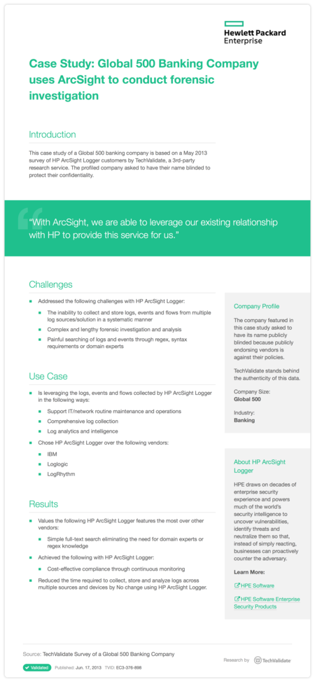 Case Study: Global 500 Banking Company uses ArcSight to conduct forensic investigation