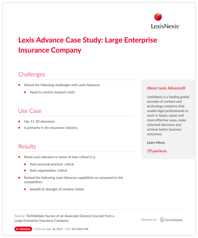 Lexis Advance Case Study: Large Enterprise Insurance Company