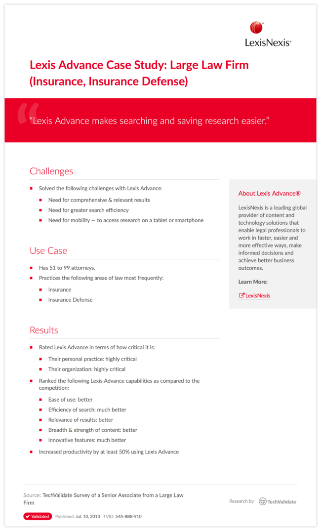 Lexis Advance Case Study: Large Law Firm (Insurance, Insurance Defense)