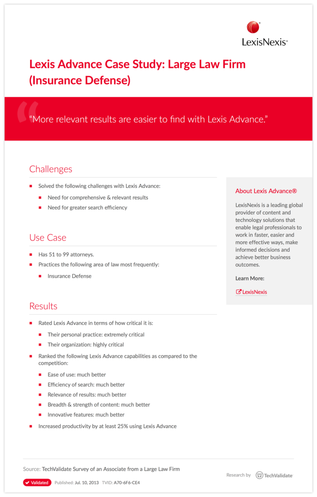 Lexis Advance Case Study: Large Law Firm (Insurance Defense)