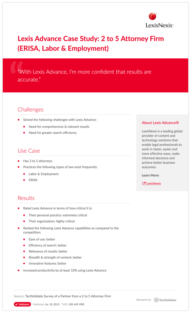 Lexis Advance Case Study: 2 to 5 Attorney Firm (ERISA, Labor & Employment)