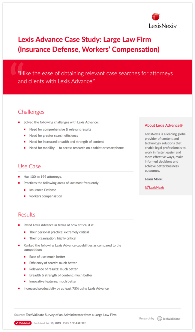 Lexis Advance Case Study: Large Law Firm (Insurance Defense, Workers' Compensation)