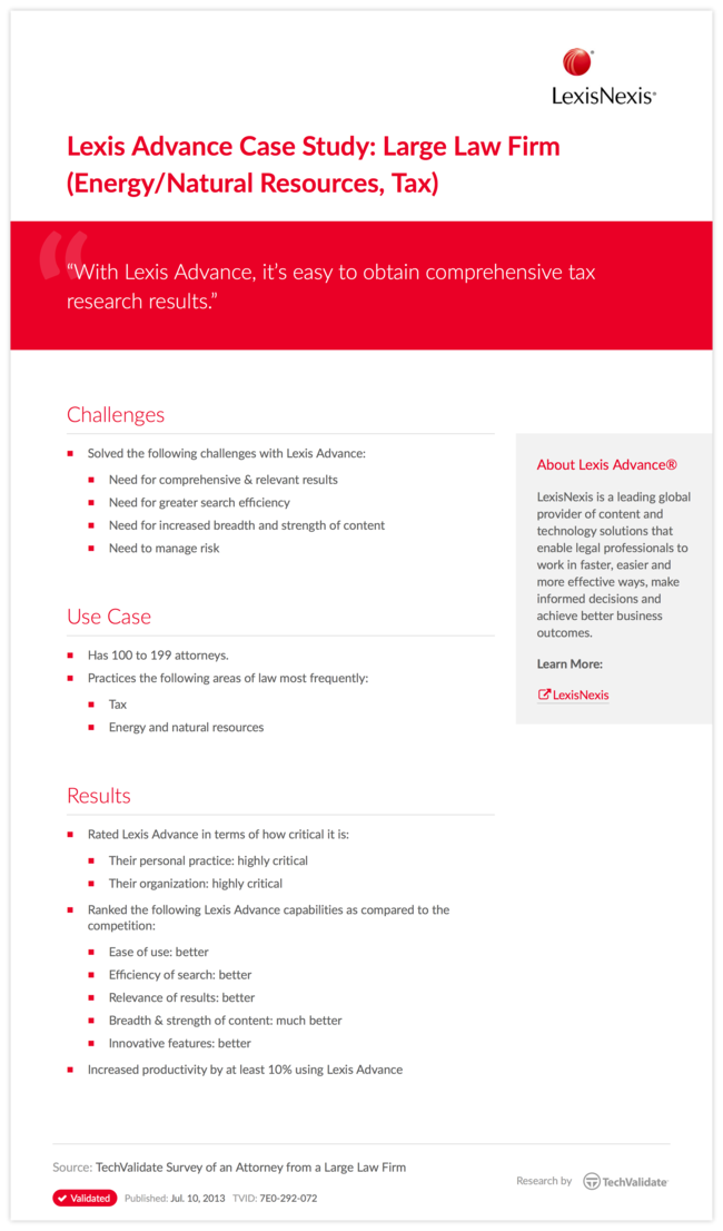 Lexis Advance Case Study: Large Law Firm (Energy/Natural Resources, Tax)