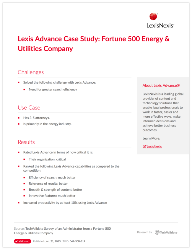 Lexis Advance Case Study: Fortune 500 Energy & Utilities Company