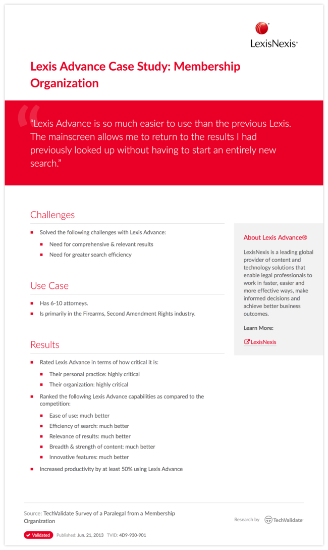 Lexis Advance Case Study: Membership Organization