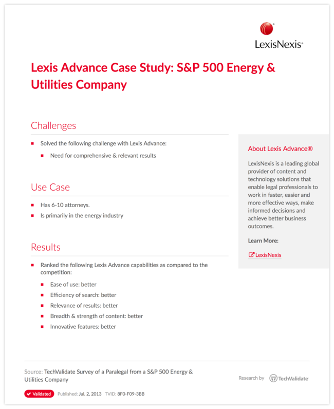 Lexis Advance Case Study: S&P 500 Energy & Utilities Company