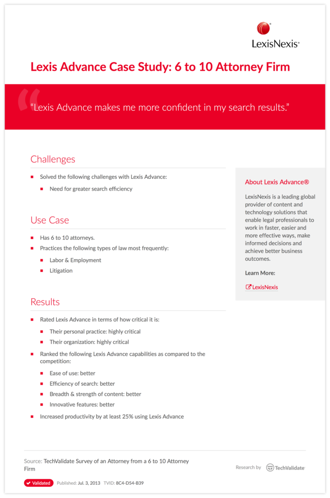 Lexis Advance Case Study: 6 to 10 Attorney Firm
