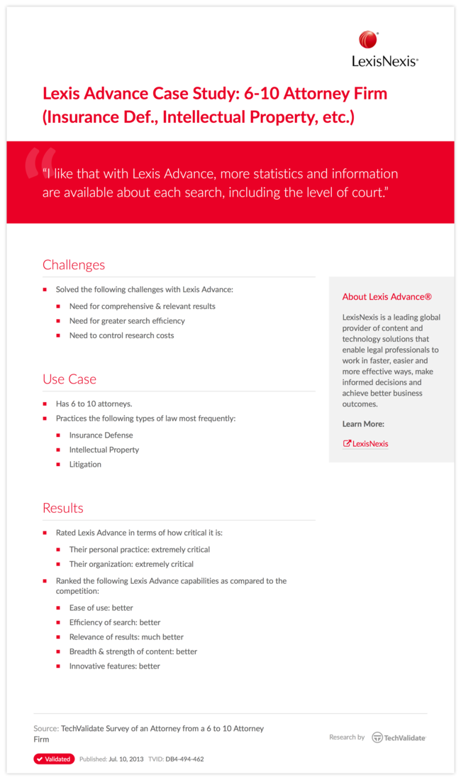 Lexis Advance Case Study: 6-10 Attorney Firm (Insurance Def., Intellectual Property, etc.)