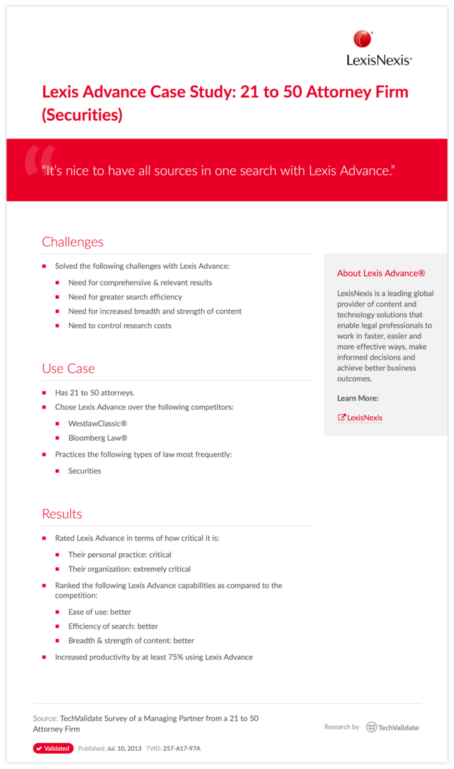 Lexis Advance Case Study: 21 to 50 Attorney Firm (Securities)