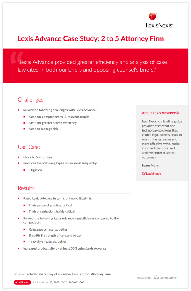 Lexis Advance Case Study: 2 to 5 Attorney Firm
