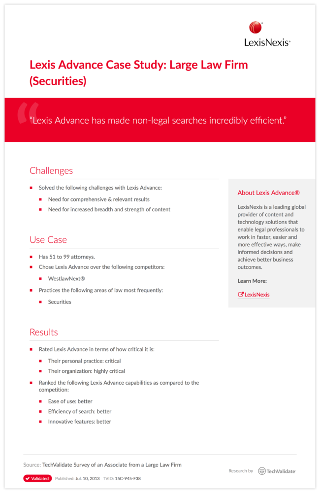 Lexis Advance Case Study: Large Law Firm (Securities)
