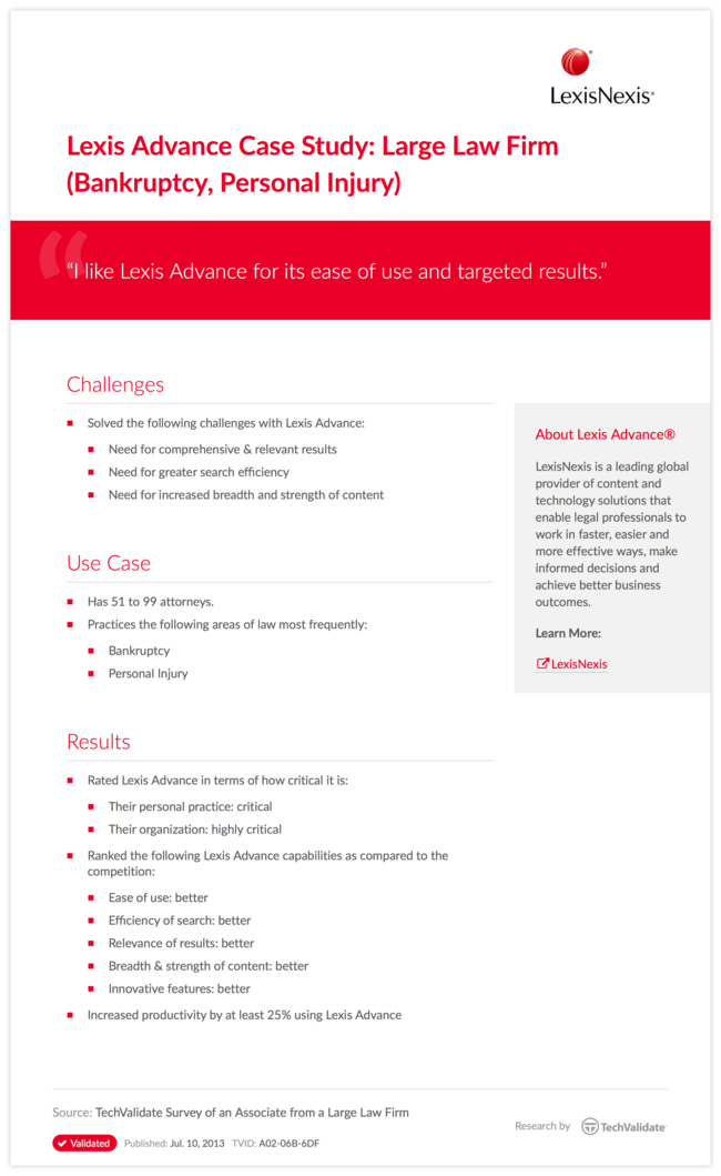 Lexis Advance Case Study: Large Law Firm (Bankruptcy, Personal Injury)