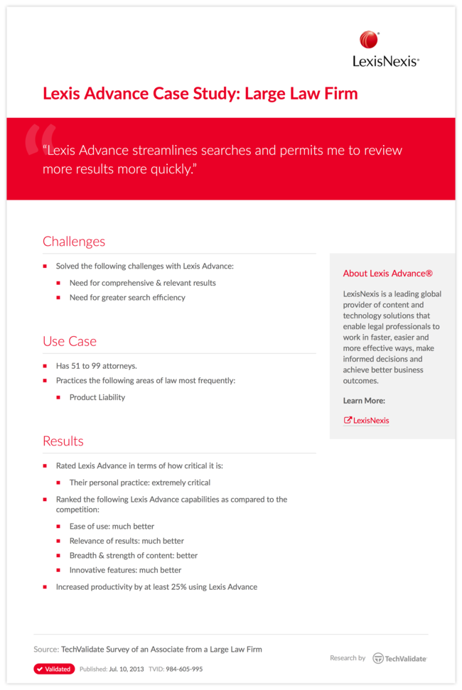 Lexis Advance Case Study: Large Law Firm